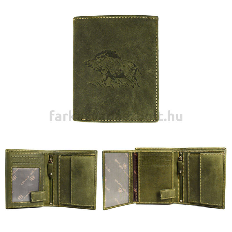 Vadász pénztárca, Giorgio Carelli, bőr, vaddisznó mintás, álló zöld, díszdobozban