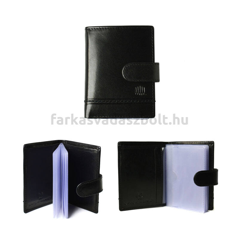 Kártyatartó, bőr, Giorgio Carelli, RFID védelemmel, fekete, díszdobozban