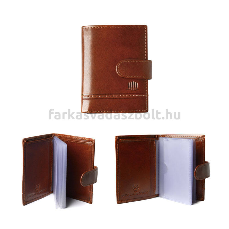 Kártyatartó, bőr, Giorgio Carelli, RFID védelemmel, barna, díszdobozban