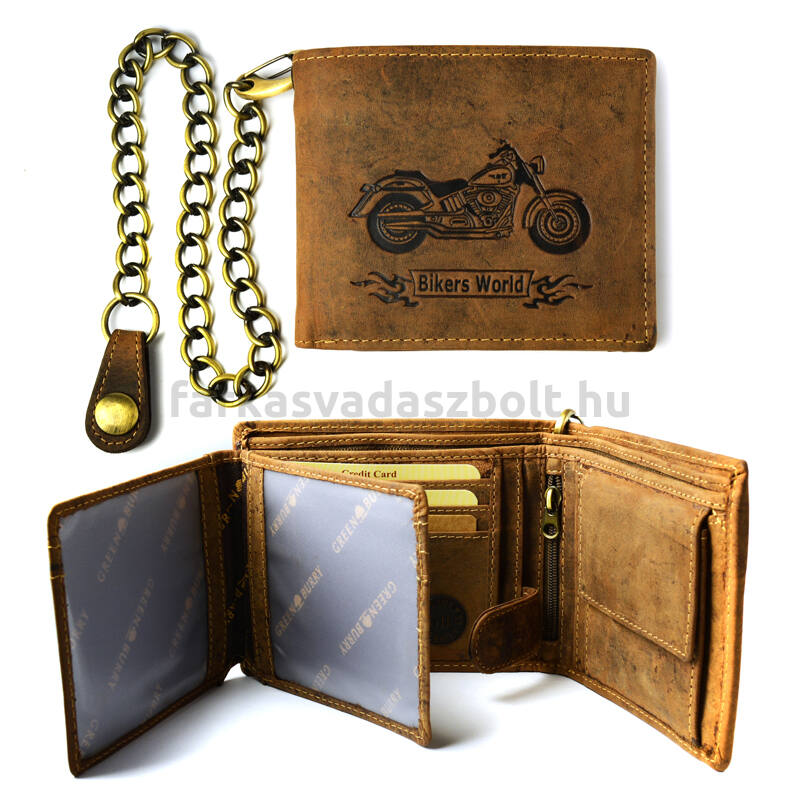 Férfi pénztárca, motoros, bőr, Greenburry, fekvő, láncos, prémium, díszdobozban