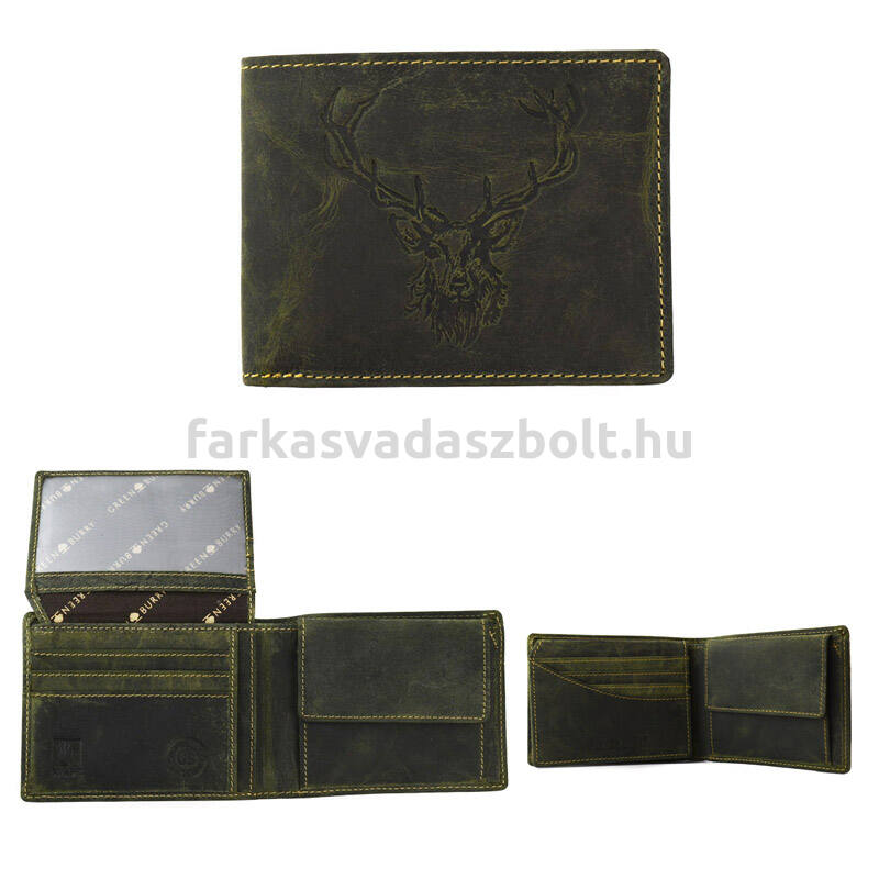 Vadász pénztárca bőr fekvő prémium királyi szarvas zöld + díszdoboz GREENBURRY
