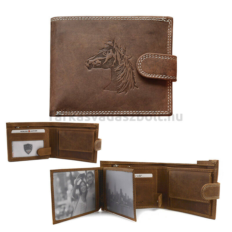 Lovas pénztárca, bőr, ló fej mintás, Giorgio Carelli, RFID, fekvő, barna, csatos, díszdobozban
