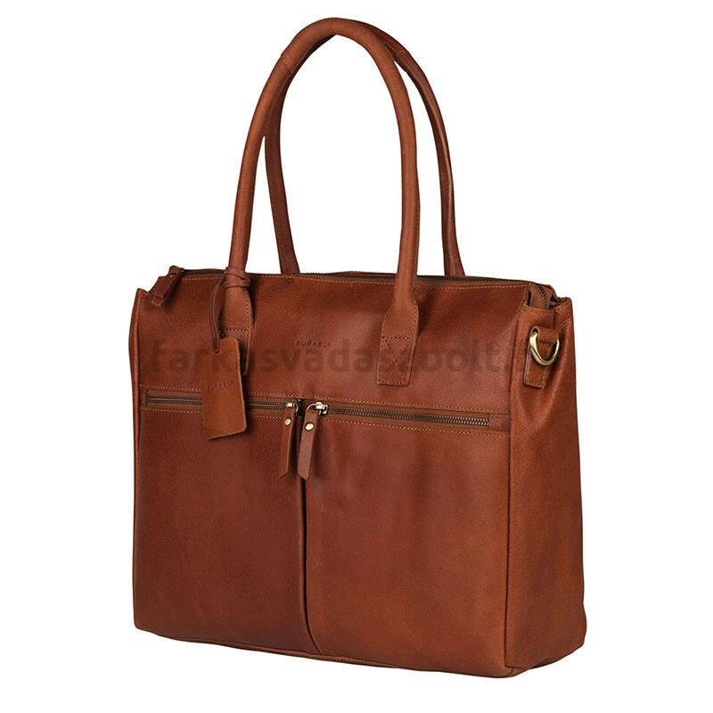 "Női laptoptáska, 15.6"", bőr, worker, cognac, VALERIE, Burkely"