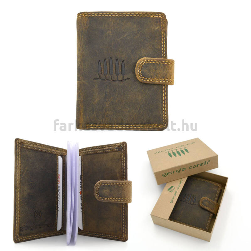 Kártyatartó, bőr, 10 x 7,5 cm, Giorgio Carelli, barna, RFID védelemmel, díszdobozban